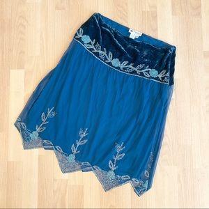 Papillon Jewel Blue Velvet Sheer Beaded Skirt Midi